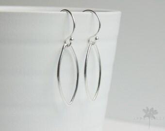 Oval marquise shape sterling silver drop dangle hoop minimal earrings