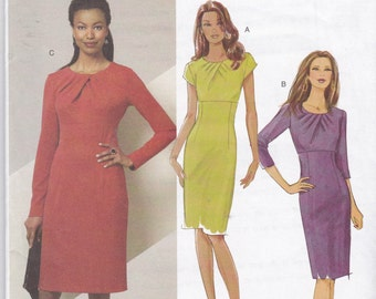 Uncut Butterick Sewing Pattern 5382 Straight Fitted Pleated Neckline Knit Dress Sizes 8 10 12 14
