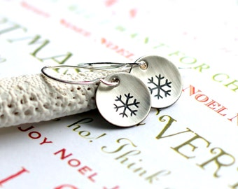 Snowflake Earrings, Hand Stamped Round Winter Earrings, Christmas Jewelry, Sterling Silver Disc, Winter Jewelry