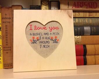 I Love You A Bushel and a Peck - cross stitch PDF pattern
