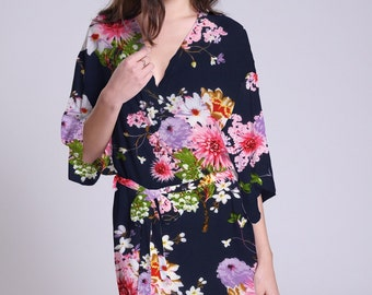 Navy kimono dress haori kimono dress plus size kimono robes for women kimono sleepwear navy kimonos long sleeve kimono nightwear SJP00
