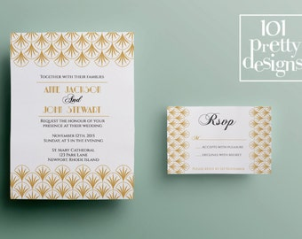 Gold art deco wedding invitation template, printable wedding invitation design, gatsby wedding invitation template elegant great gatsby