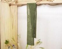 Green handknitted scarf Scarf wool tweed Scarf boho Wool premium Italy Monviso