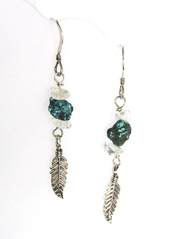 earrings of turquoise nuggets sterling silver feather charms