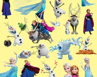 Frozen Digital Clipart - Olaf Elsa Anna Clip Art - Scrapbooking Invitations Printable Digital Graphic Images INSTANT DOWNLOAD 300 dpi