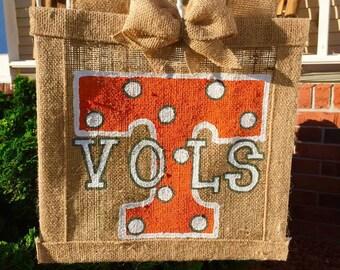 UT Tennessee  Vols Orange and White Burlap Flag