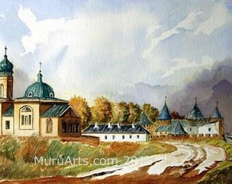 Khotyn Fort, Ukraine in watercolor