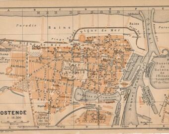 1905 Antique Map of Ostend, Belgium