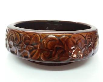Tactile vintage Denmead Pottery brown glaze bowl, stamped DR7