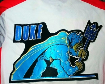 "Vintage Very Rare! ""Duke Blue Devils'' X-Large Embroidered Sew-on Back Patch 16'' X 10''"