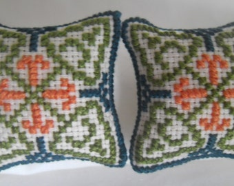 Cross Stitched Multi-coloured Geometric Pattern 1/12th scale Hand Stitched Dolls House  Cushions