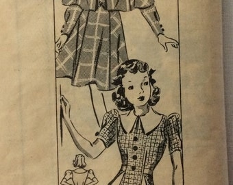 Marian Martin 9221 vintage 1940's girls dress and cape sewing pattern size 10