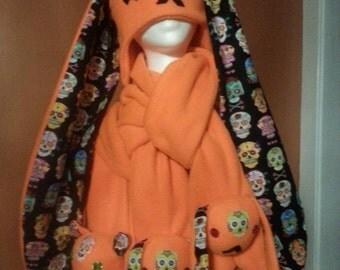 Sugar Skull Bunny Scarf Orange