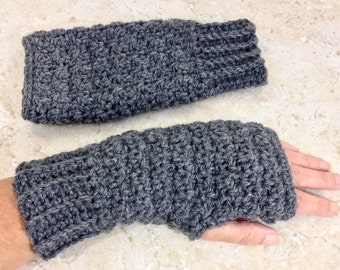 Gray Fingerless Gloves Wool Blend Crochet Fingerless Glove Grey Wrist Warmers Wool Fingerless Mittens Teen Adult Women Gifts under 20