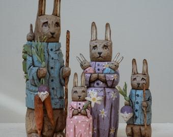Bunny Family Primitive Folk Art Woodcarving