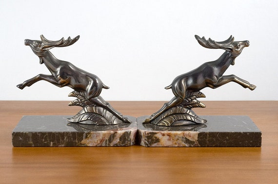 French vintage marble and spelter stag bookends - Stag book ends ...