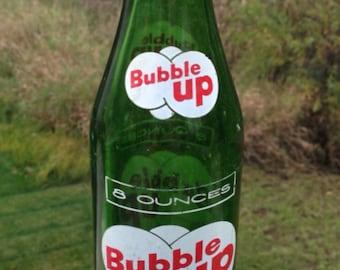 Vintage Green Glass Bubble Up Soda Pop Bottle