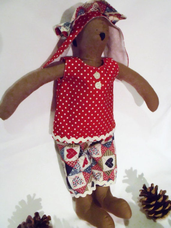 """brown Tilda bunny,  rabbit doll, plush rag doll, collectable doll, nursery décor, red outfit, easter gift, 14"""" tall"""