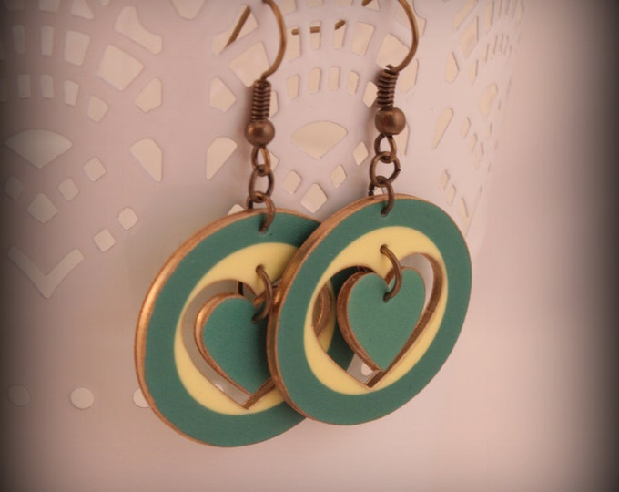 Teal Green Blue Circle Cut-Out Heart Dangle Earrings on Antique Brass Tone French Hooks - shrink plastic - art - designer - Unique