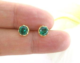 Emerald Green Earrings Cubic Zirconia Stud Earrings Wedding Jewelry Sparky Earrings Minimalist Jewelry Christmas Gift Gold Earrings (E106)