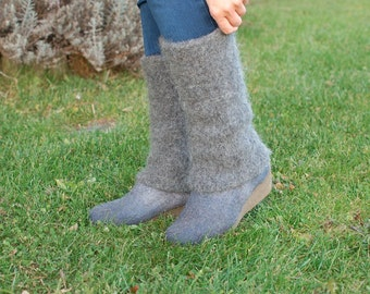Boiled wool leg warmers natural - knit felted leg warmers organic wool - Winter gift