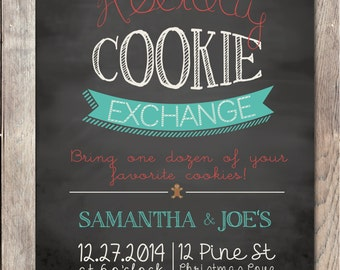 Christmas Cookie Exchange Invitation, Christmas Party Invitation, Printable Christmas Invitation, Chalkboard, Holiday Cookie Exchange Party