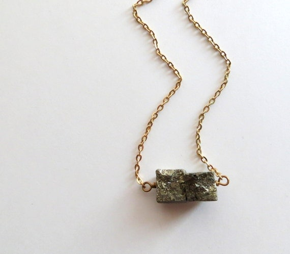 Pyrite Cube Necklace Fools Industrial Gold 18k Gold Link Chain