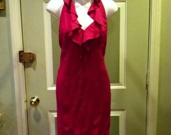 80's Raspberry Colored Halter Dress W/ Ruffled Neckline & Open Back - FREE SHIPPING