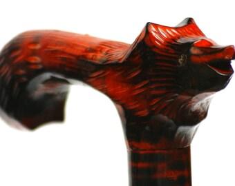 WOLF red walking stick, wooden walking cane, wolf handle carved cane, animal wooden cane, lupus stick, straggler walking cane