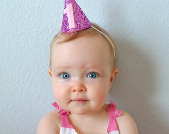 Pink First Birthday Party Hat, Mini Party Hat, First Birthday Party Hat, Cake Smash Hat, Pink Party Hat, Pom Pom Hat, Baby Birthday Hat