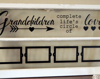 Old window picture frame for grandparents