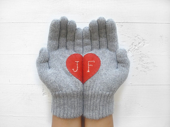 VALENTINES DAY GIFT, Personalized, Custom Gift, Heart Gloves, Customize, Valentine Gift Idea, Red Heart, Initial, Special Gift, Hearts, Love