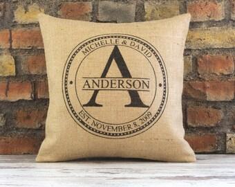 last name pillow, personalized pillow, wedding gift, anniversary gift, custom pillow, monogram pillow, family pillow, burlap pillow cover