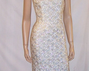 1960's B. Altman and Company White Sequined and Beaded Gown (Hong Kong)