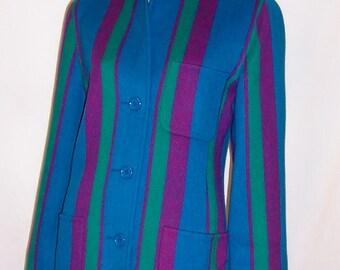 Oscar de La Renta-Dramatic Striped Woolen Suit