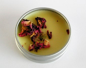 Orange Lip Butter, Lip Balm, with Rose Petals, Sweet Orange Rose Lip Butter