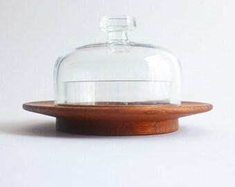 Kay Bojesen bowl with lid, Danish teak and glass