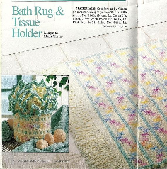 Bath Rug Tissue Cover Vintage Crochet Pattern Bathroom