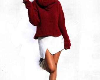 Beet Turtleneck Sweater, Turleneck Apart Sweater, Loose Sweater, Clutchy Sweater, Handknitted Sweater, Warm Sweater, Cozy Sweater