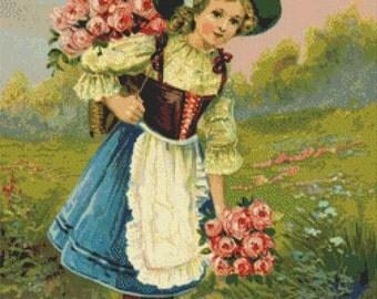 Vintage Spring Cross Stitch Pattern, Many Happy Returns, Digital Download
