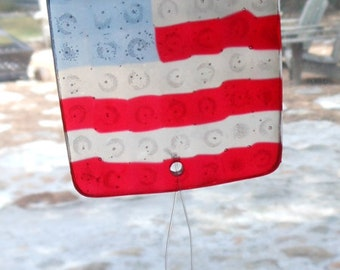 Suncatcher Patriotic American Flag Stars and Stripes Melted Beads