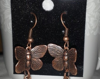 Copper Butterfly And Bead Dangles E177