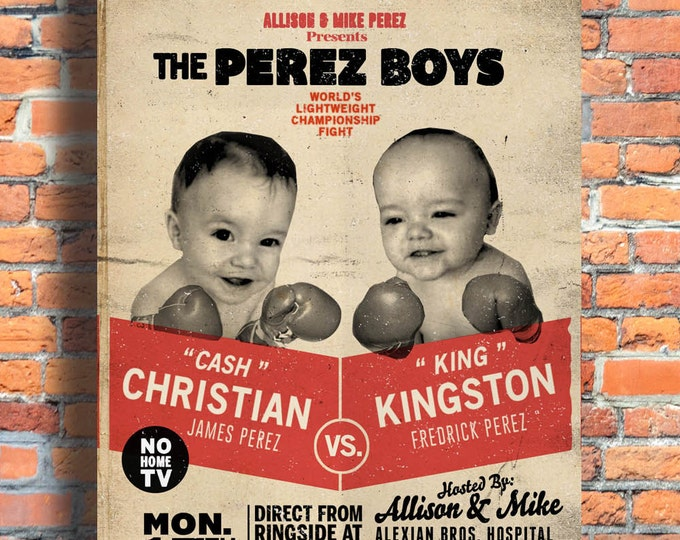 twins, twin birth announcement, twin birthday invitation, boy twins, retro,boxing, baby announcement, invitation, birthday