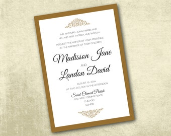 Printable Wedding Invitation PDF ONLY Instant Download - Classic Elegant Wedding Gold & Black Invitation (Choose Your Text Colors!)