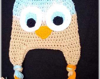 Custom Crochet Boys Girls Fall Harvest Owl Earflap Hat Newborn-Adult