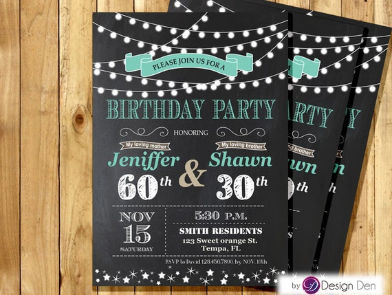 Printable Joint Birthday Party Invitations ~ Adult joint birthday invitation string light