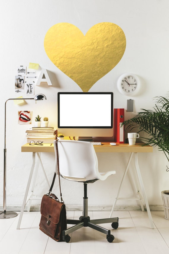 Gold Wall Home Decor : Gold heart wall decal chic home decor by twelve printing