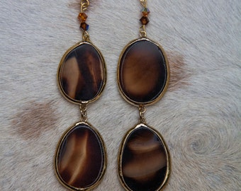 Double Agate Dangle Earrings