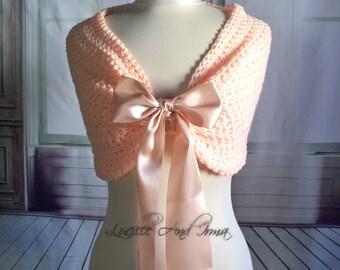 Blush Bridal Shawl Wedding Shrug Bridesmaids Stole Caplet Bolero Blush Shawl Winter Wedding Jacket Blush Bridesmaids Shoulder Wrap Crochet