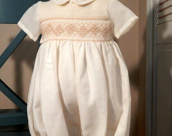 Baby boy Christening Outfit, Baby Boy Blessing Outfit with Bonnet, Baptism Outfit, Cotton Fabric, Dedication Romper